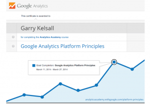 I have successfully completed a course and earned a Certificate in Google Analytics Platform Principles!  My final assessment score? 100%